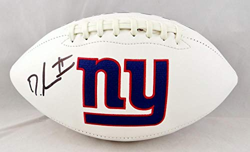 Dexter Lawrence Autographed New York Giants Logo Football- Beckett Auth Black