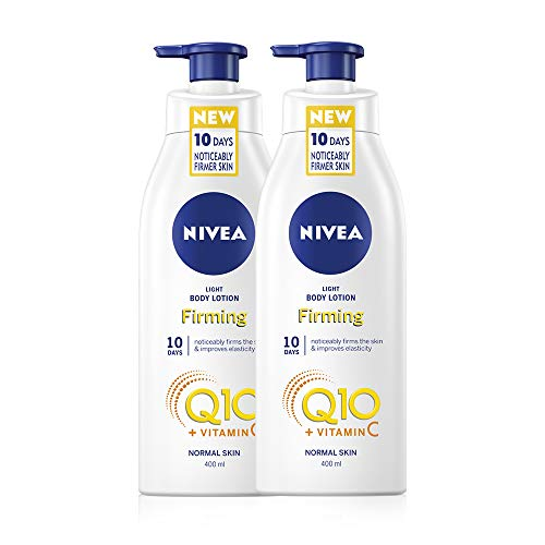 NIVEA Light Firming Body Lotion Q10 + Vitamin C Pack of 2 (2 x 400ml), Nourishing Firming Cream with Q10 & Vitamin C, NIVEA Soft Moisturising Cream for Firm Skin
