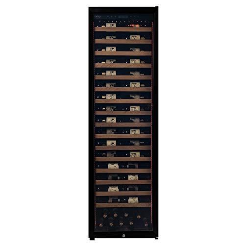 Vinoteca Pevino MS para 161 botellas   Una zona de temperatura 5-20 ° C   16 estantes metálicos retráctiles   Neveras para vino con clase energética A   Puerta de vidrio negro
