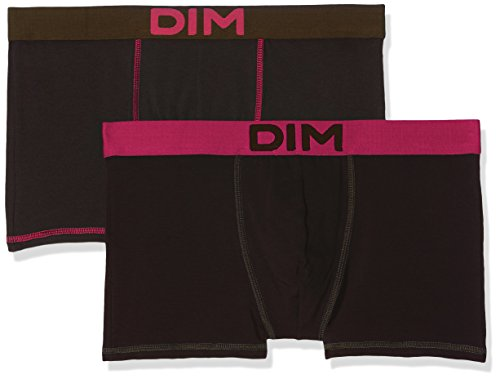 Dim Herren Boxershorts, 2er Pack, Schwarz (Negro Ct Violet Fushia/Negro Ct Vert Kaki 6VO), EU: 4 (Herstellergröße:S)