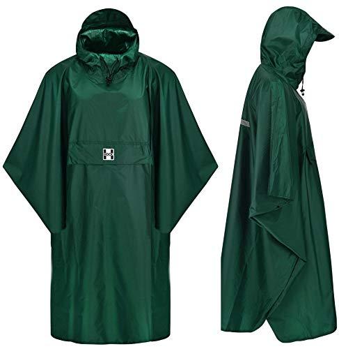 HOCK Regenponcho Extra Lang mit Kapuze - 100% Wasserdicht - Leichter Regenmantel Wandern für Damen & Herren - Regencape (grün, S/M)