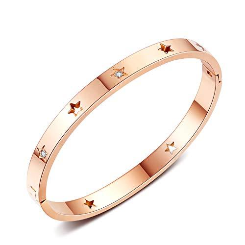 Nieuwe vijfpuntige ster-set boor holle roestvrij stalen armband vrouw eenvoudige mode tie armband