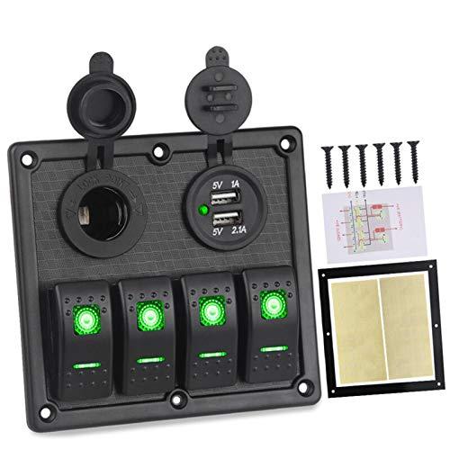 1 UNID 12V 24V Panel de interruptores de Rocker 4 Gang 3.1A Cargador USB Encendedor encendedor de cigarrillos LED LED PANEL DE INTERRAMIENTO MARINO Coche Auto (Color : Green)