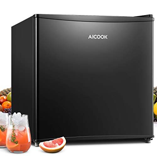 Mini Fridge with Freezer, AICOOK 1.6 Cu.Ft Compact Refrigerator with Small Freezer, Energy Star Reversible Door, Drinks Food Beer Storage for Bedroom, Office or Apartment, Blalck, 110V & 120V