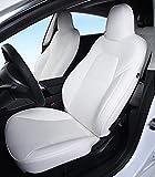 DMZTZMJ モデル3 シートカバー レザーカーシートカバー カスタムフィット テスラモデル3 フルセット車両クッションカバー エアバッグ対応 フロントコンソールアームレストカバー(ホワイト)