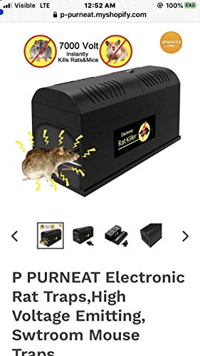 P PURNEAT Electronic Rat Trap- Effective & Powerful Humane Mouse Trap That Works for Rats, Mice –...