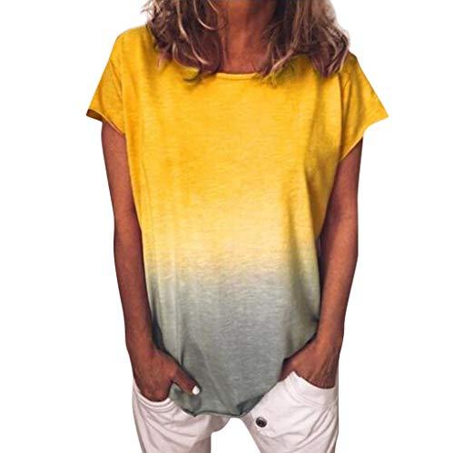 T-Shirt Damen Tie Dye Kurzarm Sommer Casual Shirt Farbverlauf Tops Lose Tees Shirts Rundhals Oberteil Mode Einfach Bluse Sexy All-Match Lässige Streetwear