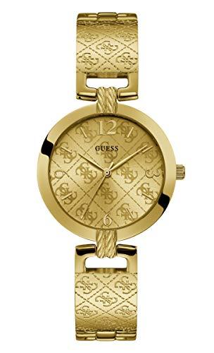 GUESS Damen-Armbanduhr 35mm Armband Edelstahl Gold + Gehäuse Batterie W1228L2