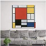 Imprimir En Lienzo 60x90cm Sin Marco Piet Cornelies Mondrian Wallpaper Sala de estar Decoración del hogar Pintura al óleo moderna Imagen del cartel