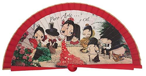 Abanico Original Malaka de Madera Malaka diseño Tablao Flamenco, complemento de Calidad con Caja de cartón Gratuita a Juego (23 cm)
