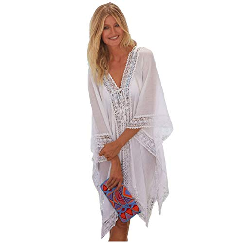 Cebilevin Damen Sommerkleider Knielang Weiß 3/4-Arm Damen Strandkleid Große Größen Bikini Cover Up Bademode Elegant Sommerkleid