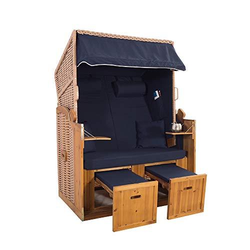 2-Sitzer Strandkorb Hörnum - Volllieger mit Fußablagen – inkl. Nackenkissen und Kuschelkissen Set - (Geflecht - Natur, Blau - Uni)