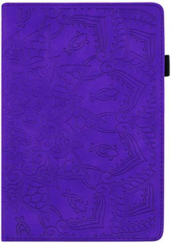 Yobby Kompatibel mit Samsung Galaxy Tab S4 10.5 inch T830/T835 Hülle,Dünn Leicht Ständer Leder Tasche mit Stifthalter,Bunt Blumen Muster Schutzhülle-Lila