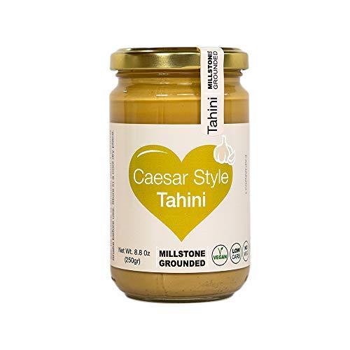 The Tahini Goddess Caesar Style Tahini   Kosher Pure Mill Stone Ground Sesame Paste   Hummus, Salad Dressings, Dips and Sauce   Gluten Free   Vegan   Peanut Free   Non GMO   8.8oz Glass Jar (250gm)