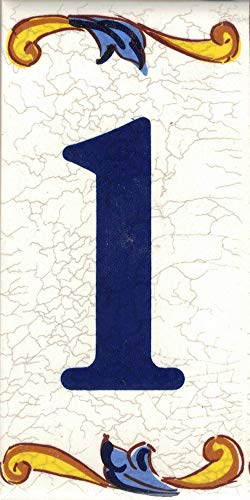 TORO DEL ORO Números casa. Numeros y Letras en azulejo. Calca cerámica. Estilo craquelé. Nombres y direcciones. Diseño Craquelé Mediana 5x10 cms (Número uno'1')
