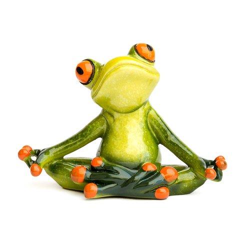 Deko Frosch Yoga, Dekofigur Frosch meditierend, hellgrün, Höhe ca. 7cm