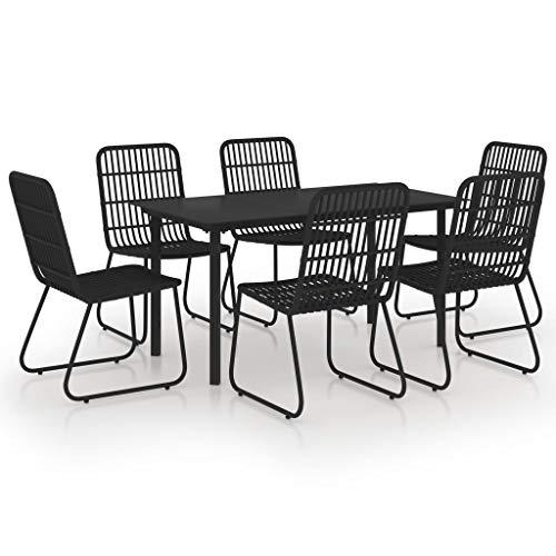 vidaXL - Conjunto de comedor para exterior de 7 piezas, mesa y sillas de comedor de exterior, muebles de terraza, salón de jardín, resina trenzada y cristal