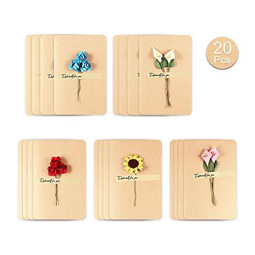 Kitchen-dream 20 Stück Grußkarte, getrocknete Blumen Grußkarten, handgefertigte Grußkarten Vintage Kraft Blank Note Card danke Notizen für Geburtstagsfeier Einladungskarte