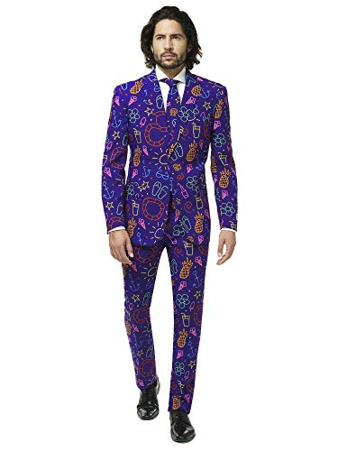 OppoSuits Herren Crazy Prom Suits for Men – Doodle Dude – Comes with Jacket, Pants and Tie In Funny Designs Herrenanzug, violett, 27