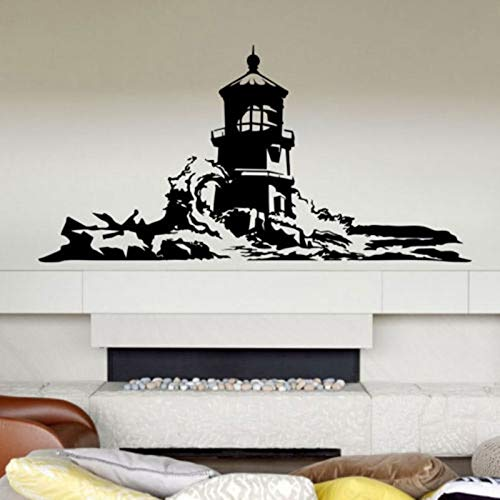Njuxcnhg Große Leuchtturm Wandaufkleber Leuchtturm Wandtattoo Mediterraner Stil Wohnkultur Wandaufkleber 142x71cm