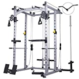 Mikolo Multi-Function Power Cage, 1200 lbs Commercial Weight Cage with Cable Crossover Machine,...