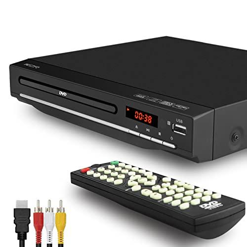 KCR Lecteur DVD Compact, Multi-Régions 1/2/3/4/5/6, Port USB, Télécommande, Câble Audio RCA Connexion TV, Divx, Port HDMI