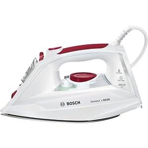 Bosch Sensixx DA30 TDA302801W - Plancha de vapor, 2800 W, color blanco y Rojo