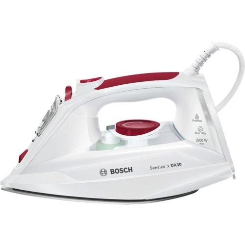 Bosch Sensixx'x DA30 TDA302801W - Plancha de vapor, 2800 W, color blanco y Rojo