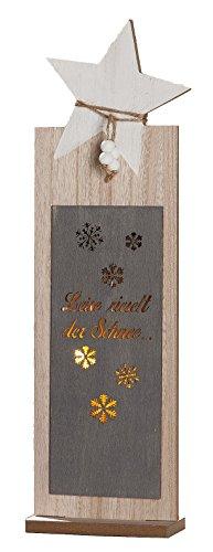 dekojohnson Dekoständer Stern mit LED Beleuchtung, 5x25,5x40 cm | Winterdeko Weihnachtsdekoration Eingangsdeko Herbstdeko Holzdekoständer