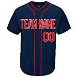 Pullonsy Navy Customize Baseball Jersey for Men Throwback Embroidered Team Player Name & Numbers,Red-White,Size S