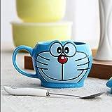 zipkp Doraemon Doraemon Gatto con Coperchio E Cucchiaio Tazza Cartone Animato Creativo Tazza in Ceramica Tazza d'Acqua Tazza di caffè Tazza + Cucchiaio (Senza Coperchio) _D Smile