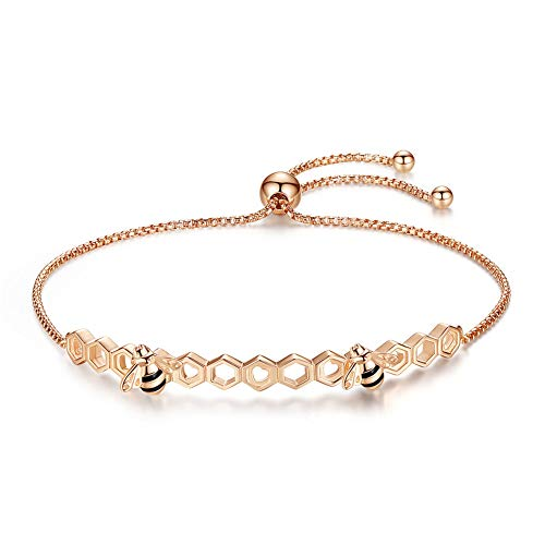 EVBEA Bee Bracelet for Women Ladies Rose Gold Adjustable Sterling Silver Bangle Jewellery