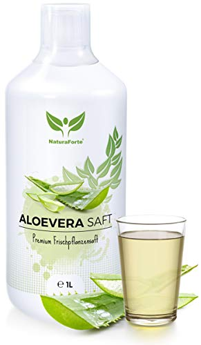 NaturaForte Aloe Vera Saft 1L - Handfiletiert, Premium 100% Direktsaft, 1500mg pro Liter Aloverose, Frischpflanzen-Saft zum Trinken, Aloe barbadensis miller Pflanze, Aloe Vera Juice