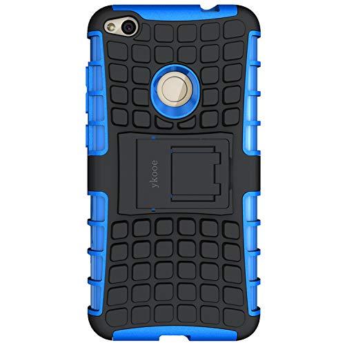 ykooe Huawei P8 Lite 2017 hülle, (Silikon Series) P8 Lite 2017 Dual Layer Hybrid Handyhülle Drop Resistance Handys Schutz Hülle mit Ständer für Huawei P8 Lite 2017 (Blau)