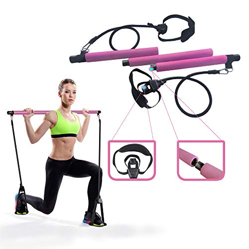 BiiErys Adjustable Pilates Bar Kit - Portable Exercise Stick Yoga Bar, 3-Section Sticks, 2 Latex Exercise Resistance Band for Full Body Workout in Home & Gym (Pink)