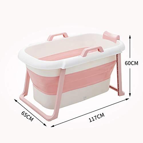 Storage Box Baignoire en Plastique portative Pliable, Baignoire de Pliage épaisse et Pliante avec Main Courante et Dossier, Baignoire de Natation pour bébé (Color : Pink, Size : Without Cover)