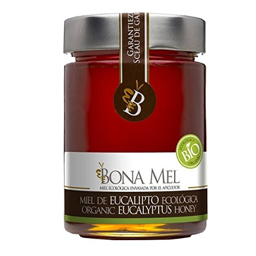 Bio Eukalyptus Honig, Direktimport vom Bio Erzeuger aus Spanien, 450 g, 100 % roher und natur, naturbelassen, reine Bio - Imker Abfüllung, nur eigene Bienen, Eukalyptushonig