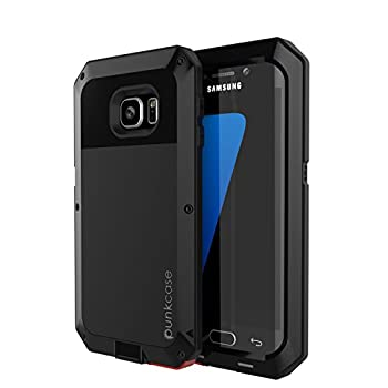 Galaxy S7 Edge Case PUNKcase Metallic Black w/Shockproof Dirt-Proof Snow-Proof Slim Metal Cover Armor Case Samsung S7 Edge