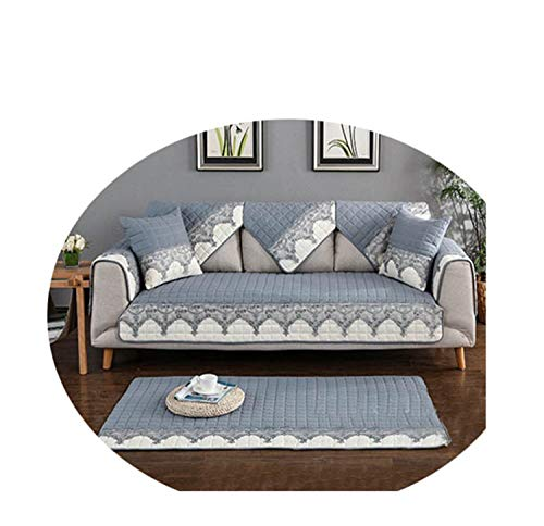 Grey Khaki Lace Spliced Quilted Sofa Cover Slipcovers Canape Couch Chair Furniture Cover Fundas De Sofa Grey per pic 110cm180cm 1piece