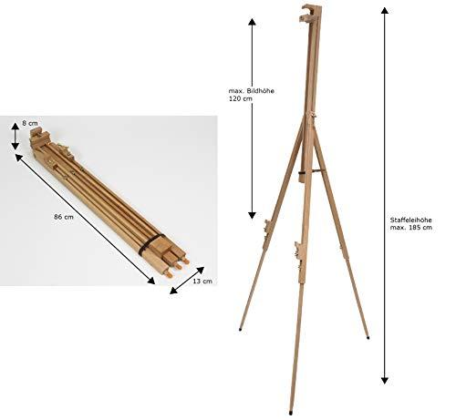 XL-Feldstaffelei SIENA aus Buche FSC, Holz Stzaffelei für Keilrahmen Leinwand bis 120cm hoch, Dreibein