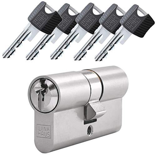 WINKHAUS RPE keyTec Doppelzylinder mit Not- und Gefahrenfunktion 80/70 inkl. 5 Schlüssel - Sicherheits-Türzylinder - Sicherungskarte - mit Sperrkugel und Rippenabfrage (Einzelschließung)