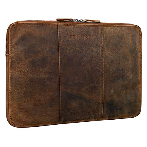 STILORD Wilson Laptop Tasche 133 Zoll Leder fur MacBook Vintage Notebooktasche fur 13 bis 14 Zoll MacBooktasche Tablettasche Konferenzmappe DIN A4 Echtleder Farbemittel braun