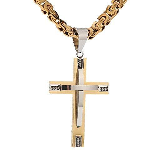Aluyouqi Co.,ltd Collar Collar Collar Hombre Niño Cadena Cruz Cristo Jesús Acero Inoxidable Colgante De Doble Capa con 24 Cadenas Bizantinas Planas Collar 8 5 Mm Ancho