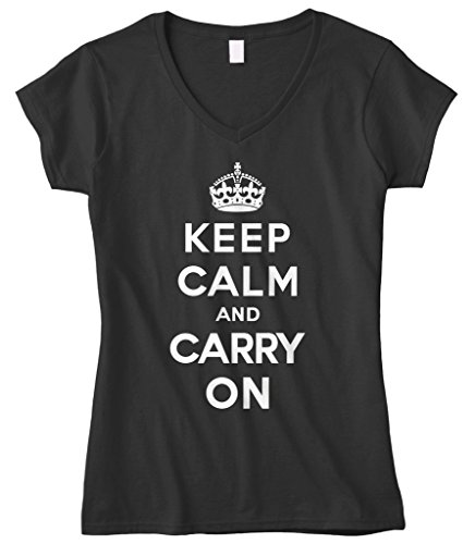 Cybertela Women's Keep Calm and Carry On Fitted V-Neck T-Shirt (Black, Large)