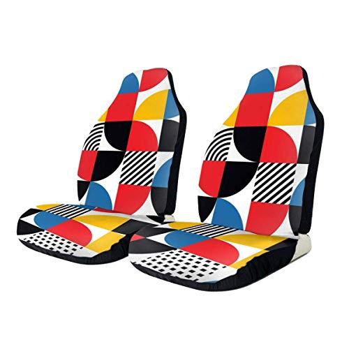 Drew Tours Bauhaus-Stil Abstraktes geometrisches Muster Vordere Autositzbezüge Set Vorderer Schalensitzschutz Universal Fit Alle Autos LKW SUV