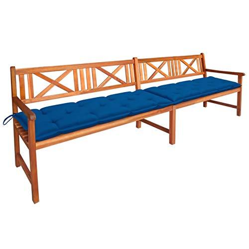 Tidyard Banco de jardín con cojín Muebles para jardín terraza balcón Patio Madera Maciza de Acacia 240 cm 4#