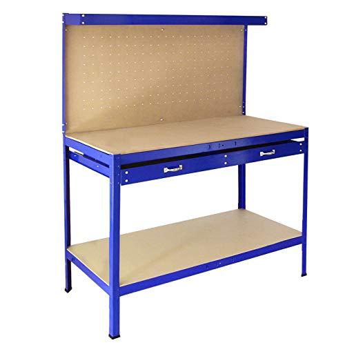 Banco de Trabajo Mesa de Trabajo Encimera de Trabajo Gancho Pared Cajón Almacenamiento Taller Garaje Resistente Bricolaje Azul