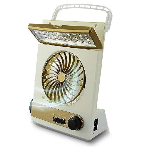 KASQA Portable Fan Solar Mini Fan LED Table Lamp 3 in 1 Multi-Function Eye-Care Flashlight Light for Home Camping Solar Cooling Fans (Gold1)