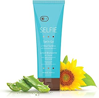 Selfie Tan'n Go 2 Hour Sunless Lotion With Immediate Bronzers Rich & Exotic, Smooth, Natural Sun-Kissed Golden Tan For Body and Face & All Skin Types, Medium Dark, 6.78 oz