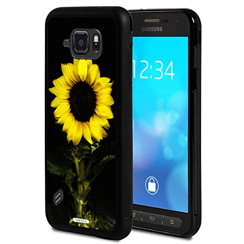 Galaxy S6 Active Case,AIRWEE Slim Anti-Scratch Shockproof Silicone TPU Back Protective Cover Case for Samsung Galaxy S6 Active (2015),Sunflower in Black